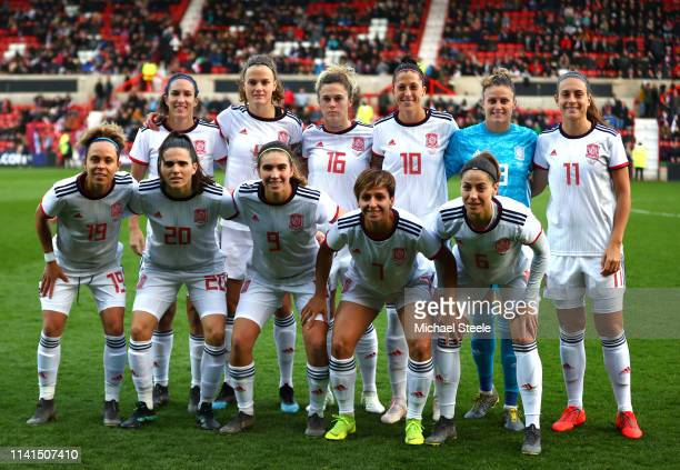 The Spain team pose for a team photo prior to the International Friendly between England Women and Spain Women at County Ground on April 09 2019 in...