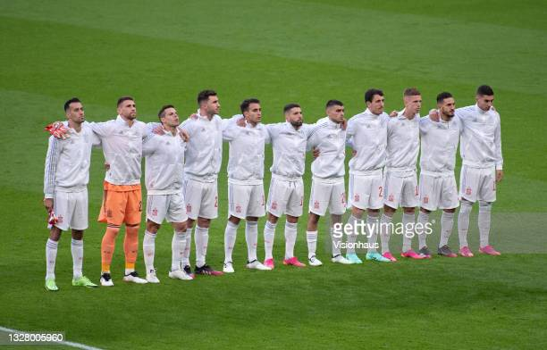 The Spain team sing the national anthem before the UEFA Euro 2020 Championship Semi-final match between Italy and Spain at Wembley Stadium on July 6,...