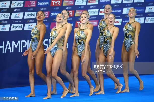 The Spain team start their routine as they compete in the Preliminary round of the Team Free Routine during the synchronised swimming on Day two of...