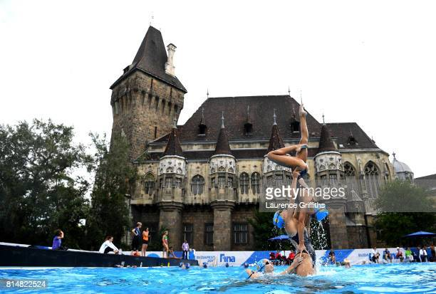 The Spain team train during practice on day two of the Budapest 2017 FINA World Championships on July 15 2017 in Budapest Hungary