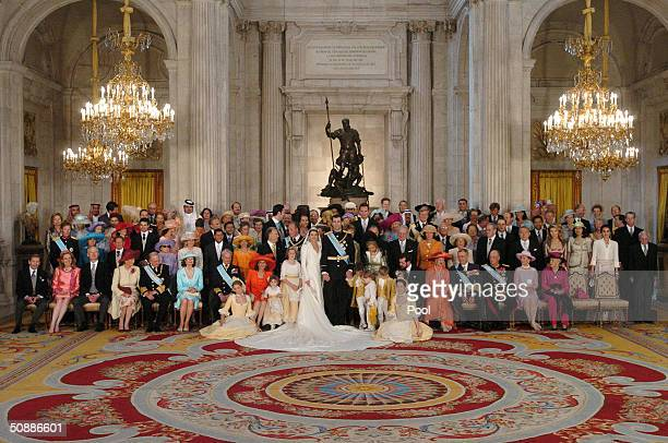 The Spainish royal family pose for a family picture after Crown Prince Felipe de Bourbon married Princess Letizia Ortiz at the royal palace May 22...