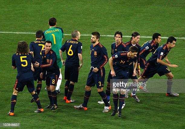 The Spainish starting 11 break from their group huddle before the 2010 FIFA World Cup South Africa Final match between Netherlands and Spain at...