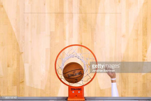 The Spalding logo is picured during a game between the New Orleans Pelicans and the Denver Nuggets at the Smoothie King Center on October 31 2019 in...