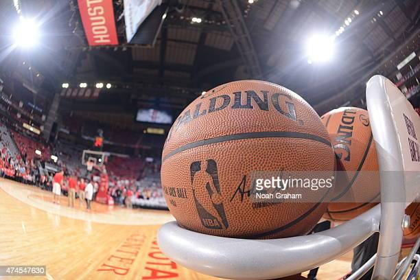 The Spalding NBA game ball prior to Game Three of the Western Conference Finals between the Houston Rockets and the Golden State Warriors during the...