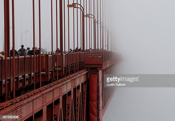 The span of the Golden Gate Bridge disappears into the fog on June 27 2014 in San Francisco California The Golden Gate Bridge district's board of...
