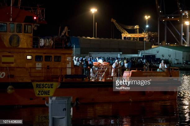 The Spaniard Maritime vessel arrives at the Malaga port with 107 rescued migrants onboard Malaga Spain