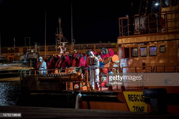 The Spaniard Maritime vessel arrives at the Malaga's port with 120 rescued migrants onboard on 22 December 2018 in Malaga Spain 120 migrants were...
