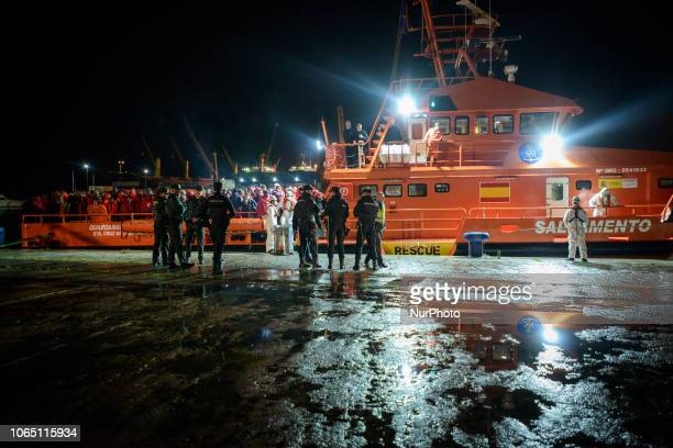 The Spaniard Maritime vessel at the Malaga's port with 202 rescued migrants onboard Malaga The Spaniard Maritime vessel rescued in the Mediterranean...
