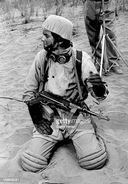 The Spanish actor and singer Miguel Bose during the filming of the movie 'Los Heroes' Almeria Andalucia Spain