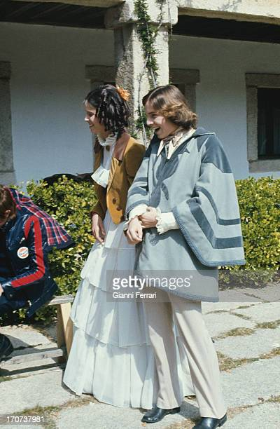 The Spanish actor Miguel Bose and his sister Paola before the filming of the movie 'Vera' Madrid, Castilla La Mancha, Spain..