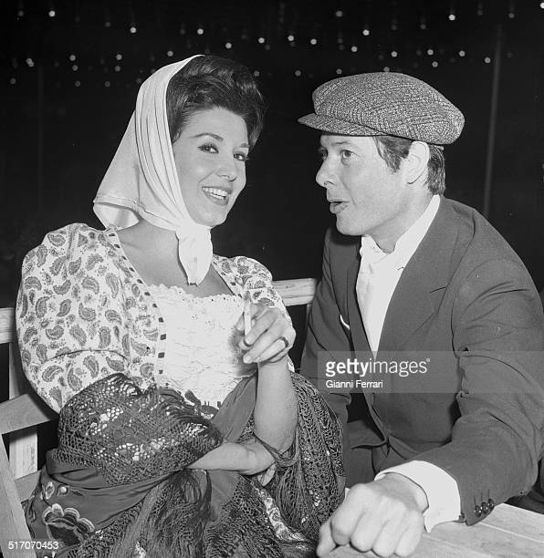 The Spanish actors Concha Velasco and Vicente Parra in the festivities of San Isidro Madrid Spain