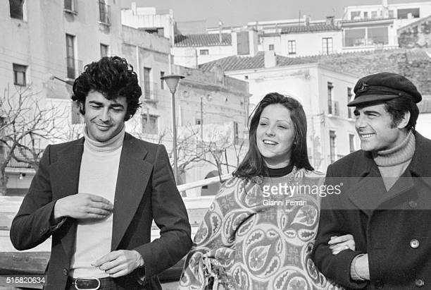 The Spanish actors Maximo Valverde Amparo Munoz and Juan Luis Gallardo 1974 Madrid Spain