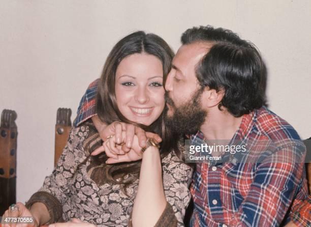 The Spanish actress Amparo Munoz Miss Spain and Miss Universe 1973 with the Spanish film director Alvaro de la Iglesia Madrid Spain