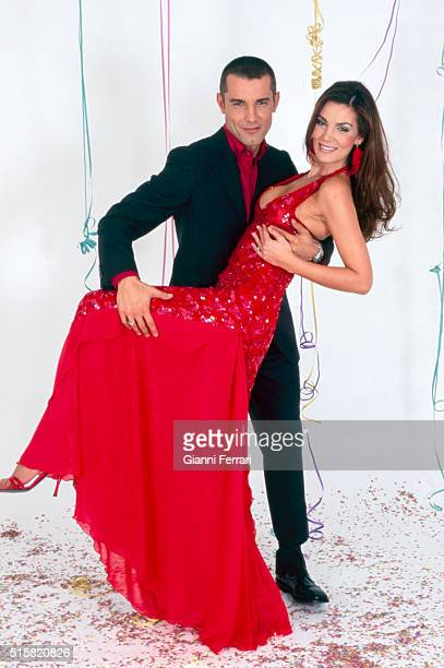 The Spanish actress and model Mar Flores and the Spanish TV presenter Jesus Vazquez in a photoshoot Madrid Spain