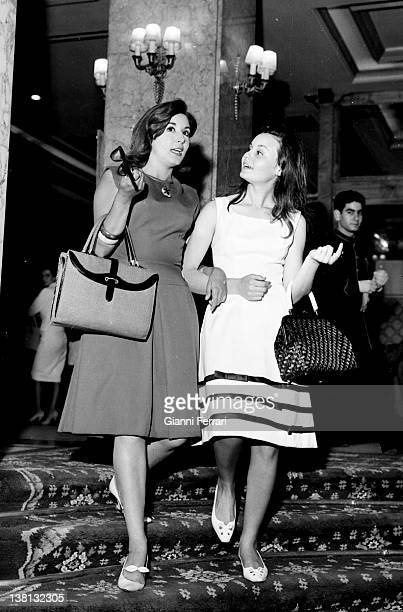The Spanish actress and singers Rocio Durcal and Concha Velasco walking in Barcelona Barcelona