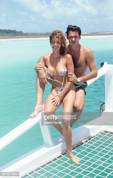 The Spanish actress and television presenter Elsa Anka at San Roque Island with her boyfriend Miguel Torrent 15th July 1996 Venezuela