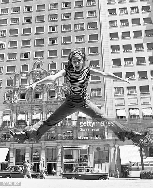 The Spanish actress Concha Velasco dancing in the 'Plaza de Espana' of Madrid Spain