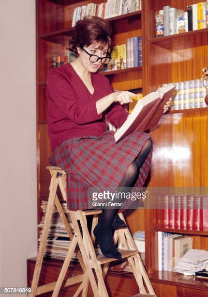 The Spanish actress Concha Velasco in the library of her home in Madrid Madrid Spain