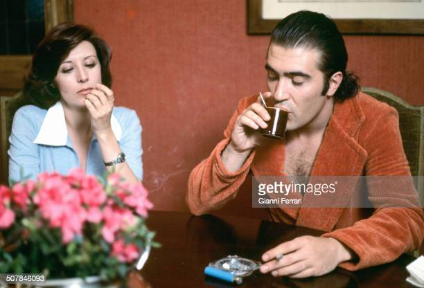 "The Spanish actress Concha Velasco with the Spanish player Patxi Andion during the filming of the movie 'Libertad provisional"" 15th February 1976..."