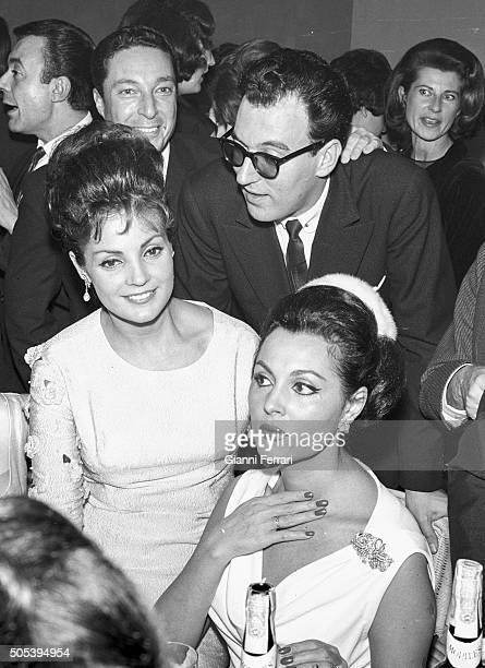 The Spanish actress Paquita Rico and Carmen Sevilla at the christening of Lolita the daughter of Lola Flores with Augusto Alguero Madrid Spain