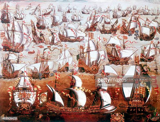 The Spanish Armada which threatened England in July 1588 The ships of the Spanish fleet are shown in combat with British vessels The Armada a fleet...