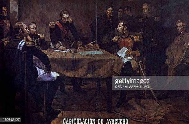 The Spanish army surrendering to General Antonio Jose de Sucre Peru after the Battle of Ayacucho December 1824 Peruvian War of Independence Peru 19th...
