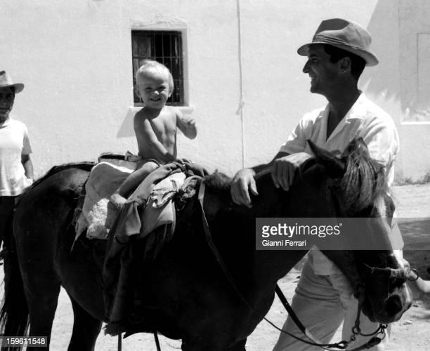 The Spanish bullfighter Luis Miguel Dominguin at his home in Villa Paz with his son Miguel Cuenca Castilla La Mancha Spain