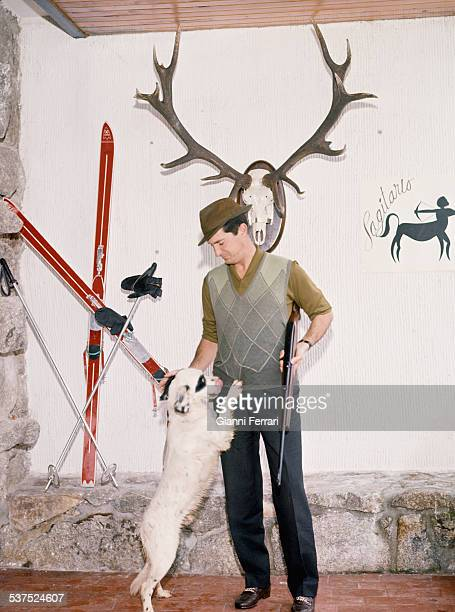 The Spanish bullfighter Luis Miguel Dominguin with objects related to the sign of his the zodiac Sagittarius Madrid Spain