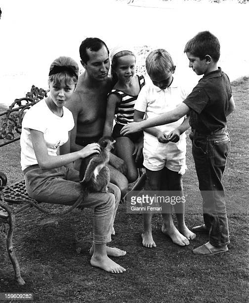 The Spanish bullfighter Luis Miguel Dominguin with Spanish actress Marisol hiis children Lucia and Miguel and a friend at his home in Somosaguas...