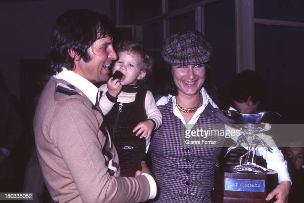 The Spanish bullfighter Manuel Benitez 'El Cordobes' on the birthday of his third son Raphael with his wife Maribel at his home in Villalobillos...