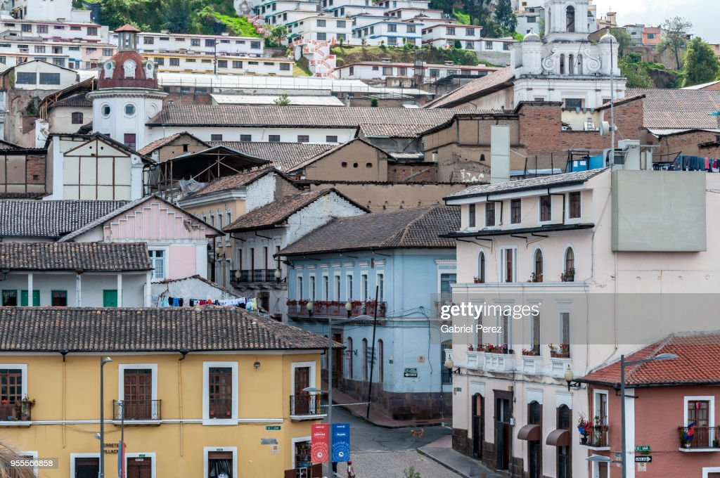 The Spanish Colonial Architecture Of Historic Quito Stock Photo