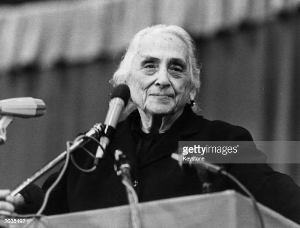 The Spanish Communist Dolores Ibarruri known as 'La Pasionaria' at a meeting of Spanish workers in Geneva