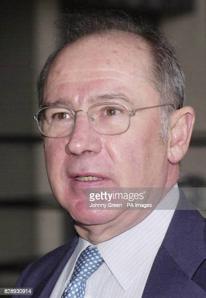 The Spanish First Vice President and Minister of the Economy Rodrigo Rato y Figaredo talks to journalists as he arrives at a conference on advancing...
