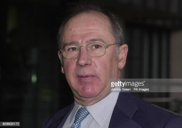 The Spanish First Vice President and Minister of the Economy Rodrigo Rato y Figaredo talks to journalists as he arrives at a conference entitled...