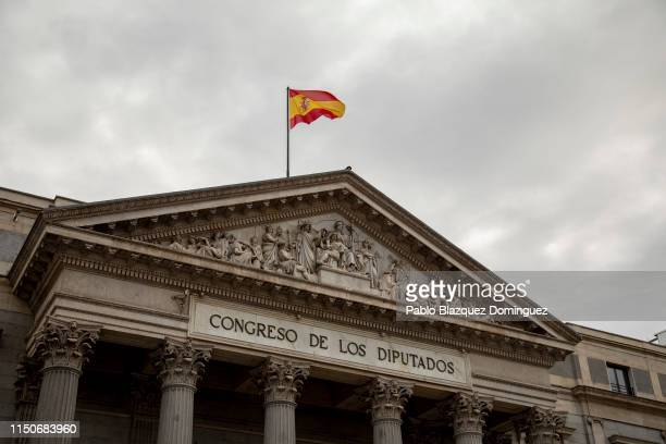 The Spanish flag waves in the air before the opening plenary session at the Spanish Parliament on May 21 2019 in Madrid Spain The Supreme Court...