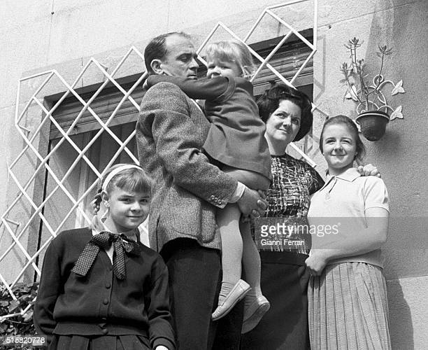 The Spanish footballer Alfredo di Stefano with his family Madrid, Spain.