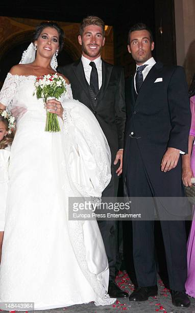 The Spanish footballplayer Sergio Ramos attends the wedding of his sister Miriam Ramos and Carlos Muela at Salvador Church on July 14 2012 in Seville...