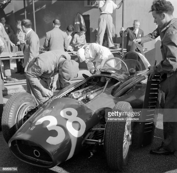 The Spanish Grand Prix Pedralbes October 26 1954 Before practice the Ferrari mechanics work on the Ferrari 553 �Squalo' which will be driven by Mike...