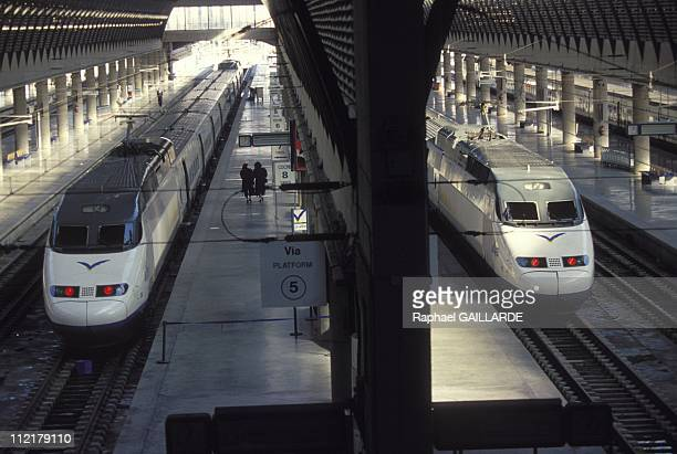 The Spanish high speed train 'Ave' between Sevilla and Madrid in 1994