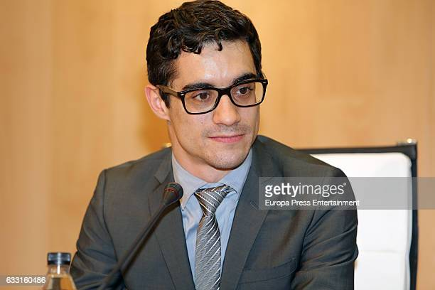 The Spanish ice skater Javier Fernandez fivetime European champion attends a press conference at Consejo Superior de Deportes on January 30 2017 in...