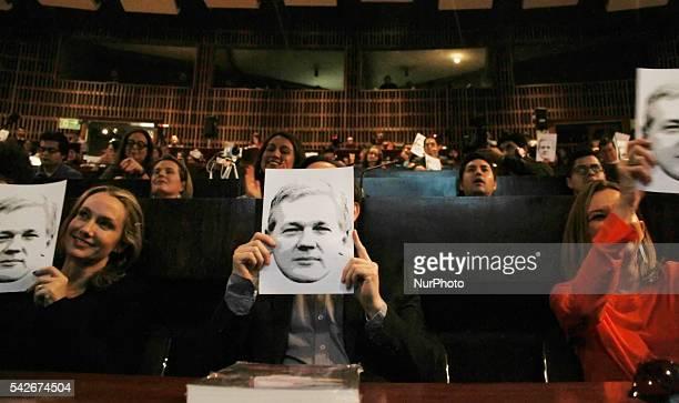 The Spanish journalist Ignacio Ramonet presents in Quito Ecuador on June 23 2016 the Ecuador 's book quot When Google found Wikileaksquot Julian...