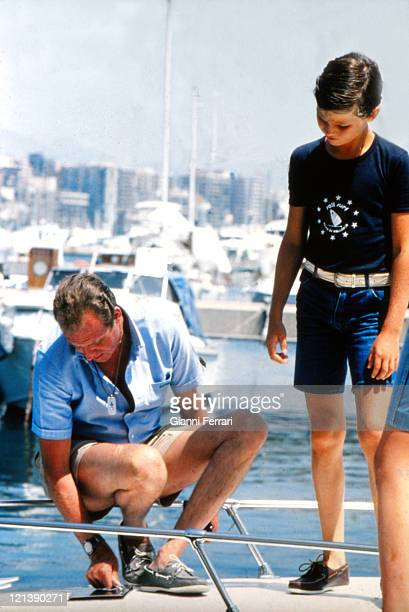 The Spanish King Juan Carlos of Borbon and his son Prince Felipe during their holidays in the Balearic Islands 12th August 1979 Palma de Mallorca...