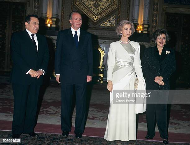 The Spanish King Juan Carlos of Borbon and Sofia of Greece during their visit to Egypt meet Egyptian President Hosni Mubarak and his wife Suzanne,...