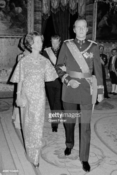 The Spanish King Juan Carlos with the Belgian Queen Fabiola, at the Royal Palace before a gala dinner, 26th September 1978, Madrid, Spain. .