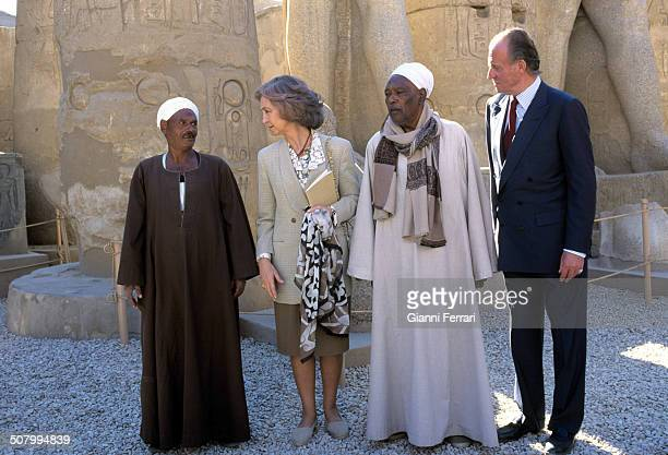 The Spanish Kings Juan Carlos and Sofia during his trip to Egypt visit the temple of Karnak 21st February 1997 Luxor Egypt
