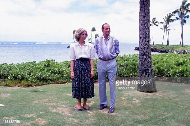 The Spanish Kings Juan Carlos and Sofia during their stay in Honolulu 23th June 1988 Hawaii