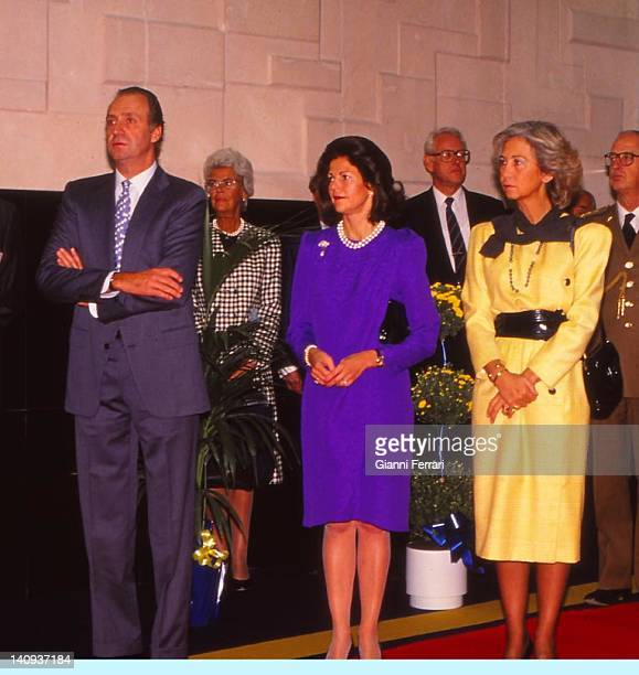 The Spanish Kings Juan Carlos and Sofia with Silvia Queen of Sweden during her visit to Spain Madrid Spain
