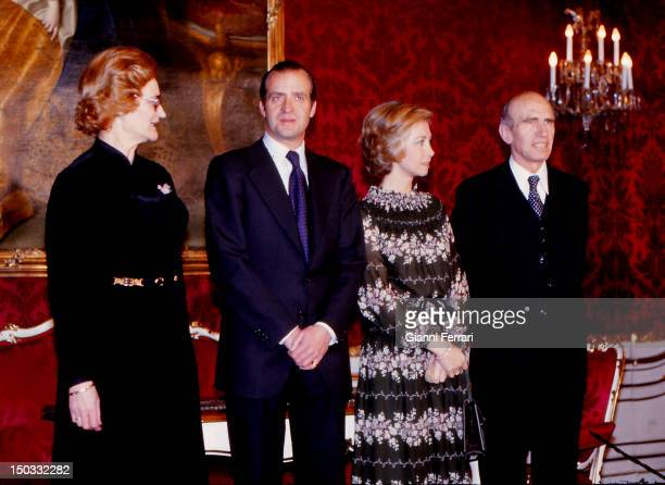 The Spanish Kings Juan Carlos and Sofia with the Austrian President Rudolf Kirchschlager and wife 14th February 1978 Vienna Austria