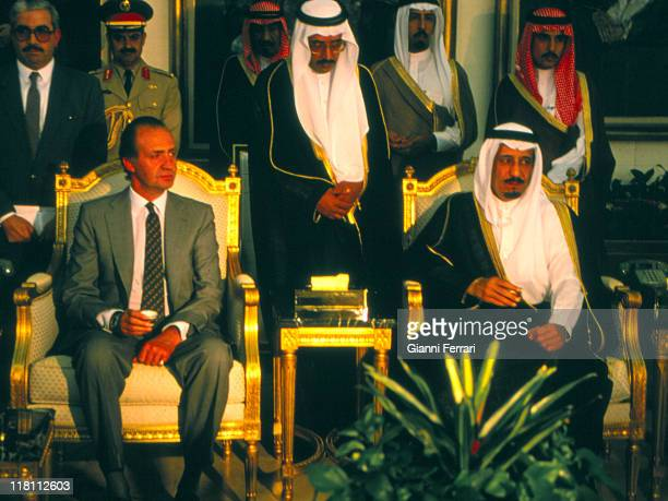 The spanish Kings Juan Carlos and Sofia with the prince of Saudi Arabian Bin Abdul Aziz Riyadh Saudi Arabian