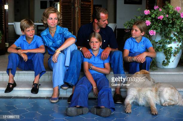 The Spanish Kings Juan Carlos and Sofia with their children Cristina, Felipe and Elena on holiday at the 'Miravent Palace' in Palma de Mallorca, 15th...